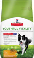 Hill's Science Plan Canine - Adult 7+ Youthful Vitality Medium Breed con Pollo & Arro 2.5 kg, 10 kg, 750 g