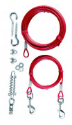 Trixie Cable d'attache avec longe Rouge