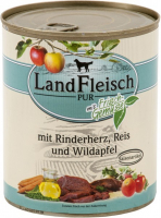Landfleisch Pur Beef heart, Rice & Forest apple with fresh vegetables Can 400 g 4003537003878