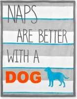 "Blanket ""Naps are better with a Dog"" Grijs"