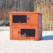 Small Animal Hutch with Insulation Ljusbrun