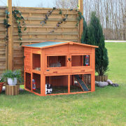 Small Animal Hutch XL with Enclosure Brun