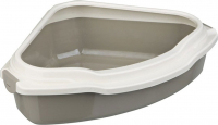 Pedro Corner Cat Litter Tray with Rim Taupe