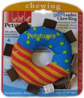 Petstages Mini Leather Chew ring  Veelkleurig