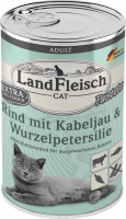 Landfleisch Cat Adult Pate with Beef, Cod and Parsley Root 195 g, 400 g, 100 g