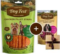 Dog Fest Small Breeds Tiras de Pollo + Regalo: Filetes de Pato 55+25 g