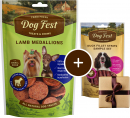 Dog Fest Small Breeds Lam Medaljoner + Gave: Strimler af Ande Filet 55+25 g