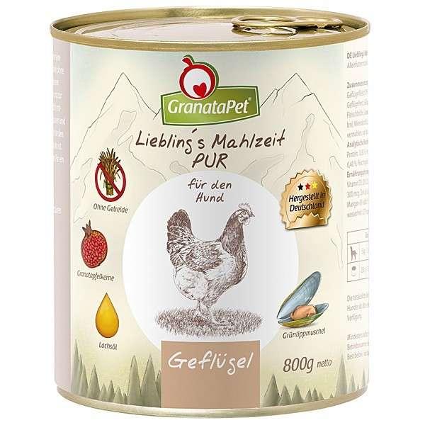 GranataPet Liebling's Mahlzeit PUR Gevogelte 800 g 4260165185950