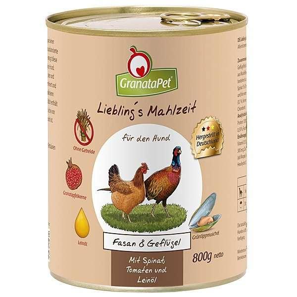 GranataPet Liebling's Mahlzeit Fazant en Gevogelte 800 g 4260165183864
