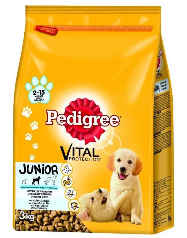 Pedigree Junior Medium Kanaa 3 kg, 15 kg testatut