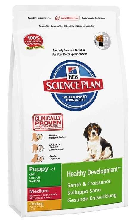 Hill's Science Plan Canine - Puppy Healthy Development Medium Kyckling 12 kg, 1 kg, 3 kg