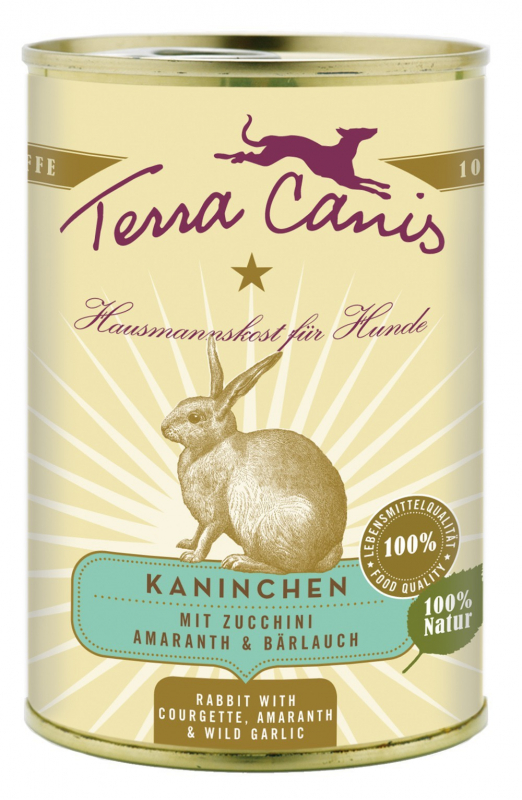 Terra Canis Classic Meals, Rabbit with Courgette, Amaranth & Wild Garlic 800 g 4260109622398