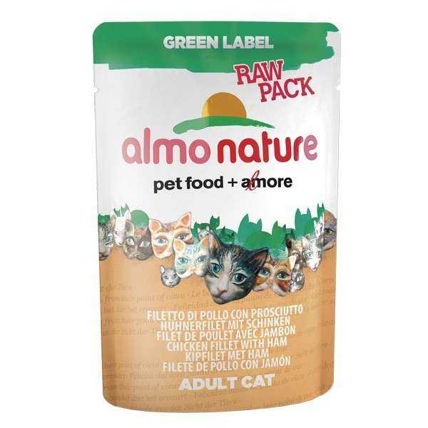 Almo Nature Green Label Raw Pack Wet Chicken Fillets with Ham 55 g