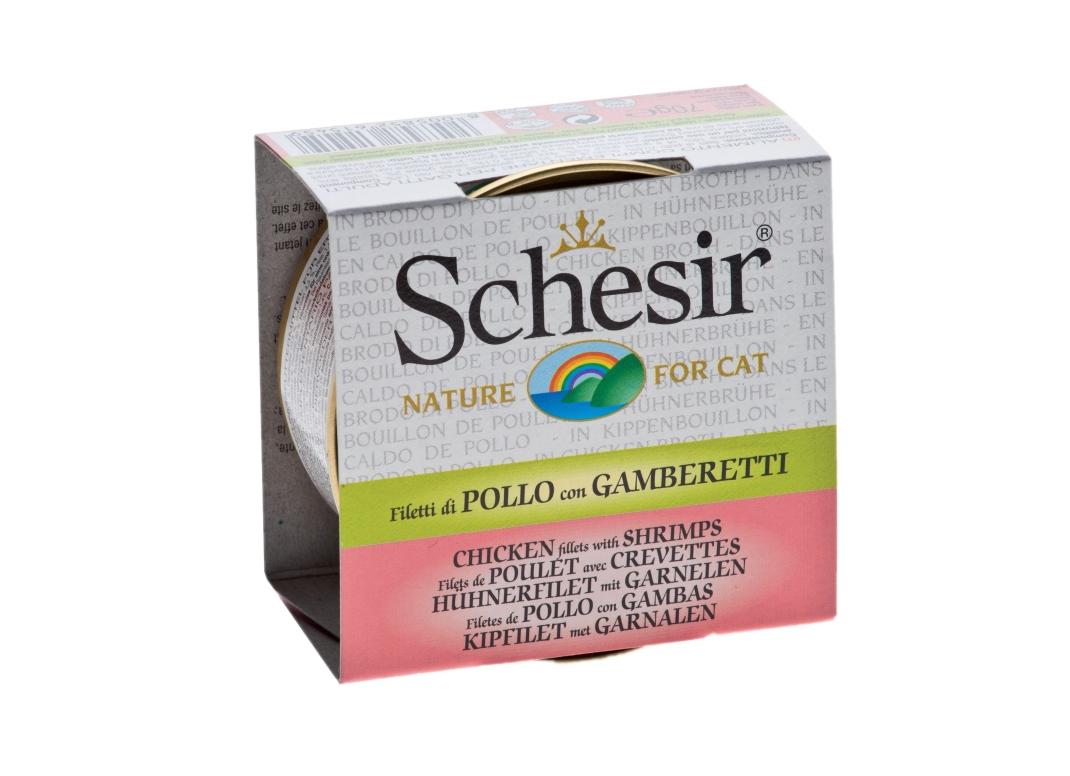 Schesir Cat Brühe Hühnerfilet mit Garnelen 70 g