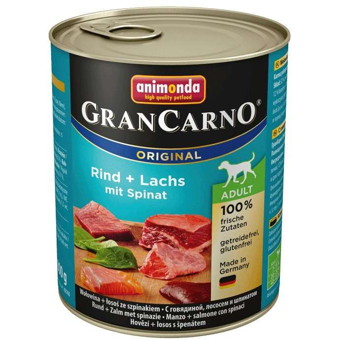 GranCarno Original Adult Beef & Salmon with Spinach 800 g