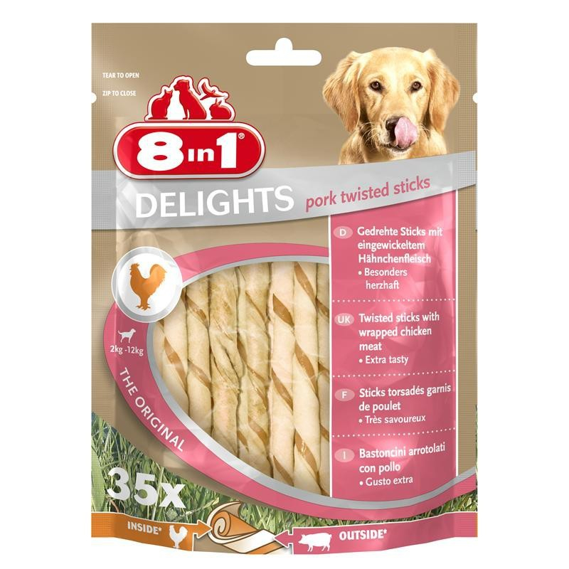 8in1 Delights Pork Twisted Sticks 35 Stuk 190 g, 55 g