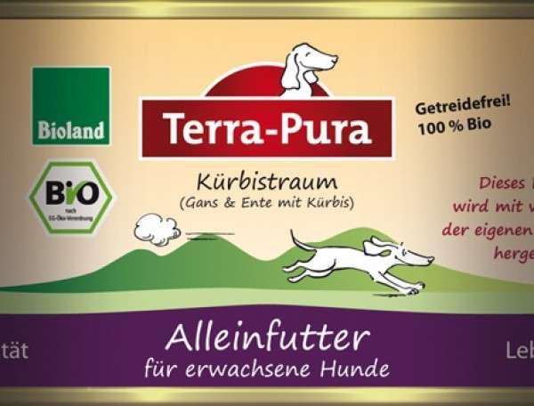 Terra Pura Bio-Kürbistraum met Gans en Eend voor Honden 800 g, 400 g, 200 g