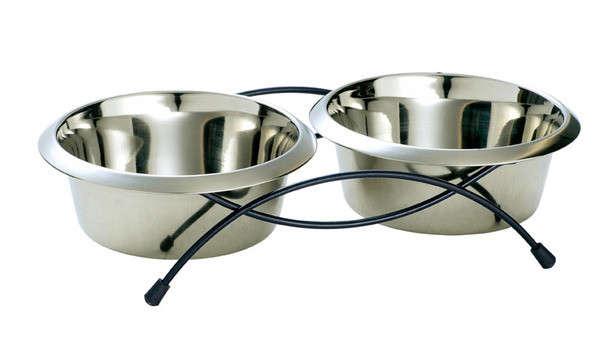 Hunter Roestvrij Staal Dubbele Voerbak, Double, 850ml 440 ml Zilver met korting aantrekkelijk en goedkoop kopen