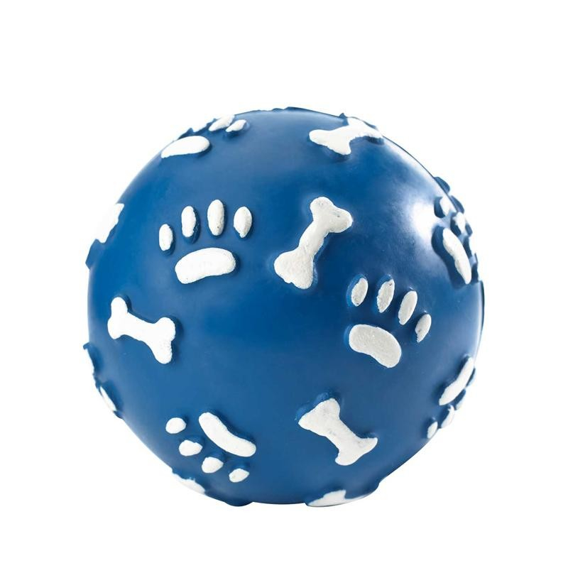 Hunter Dog Toy Rubber Ball with Paws, ø 7cm Blå S kjøp billig med rabatt