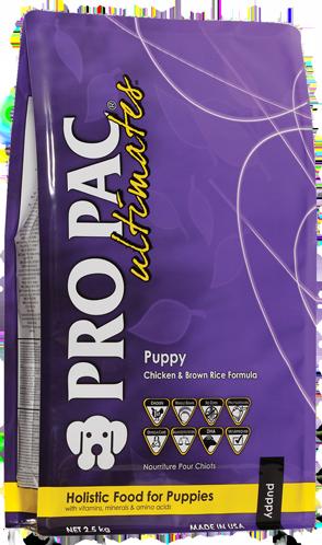PRO PAC Ultimates Puppy Kip & Bruine Rijst 2.50 kg, 12 kg test