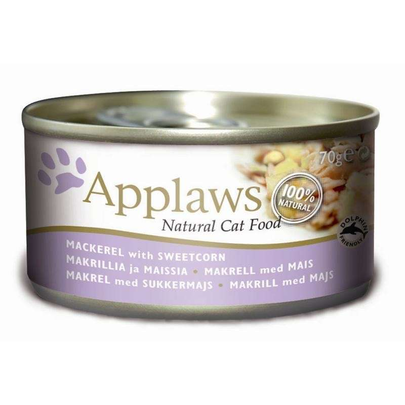 Applaws Natural Cat Food Mackerel with Sweetcorn 24x70 g