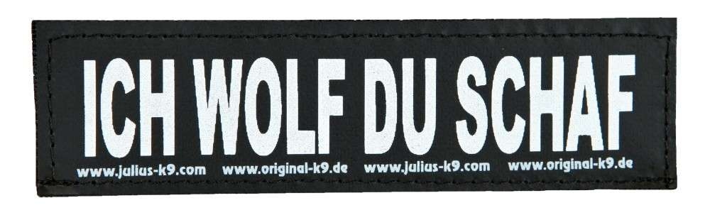 """Julius K9 Etiqueta de Velcro """"Ich Wolf du Schaf""""  S ICH WOLF DU SCHAF"""