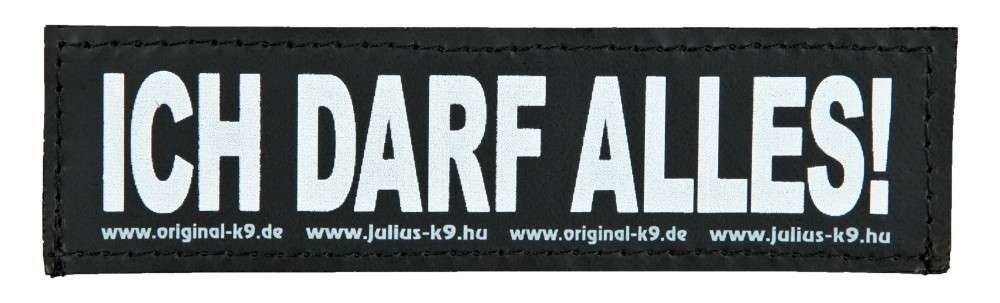 """Julius K9 Velcro Sticker """"Ich Darf Alles!"""" FREIZEITGESTALTER  5999053650766 anmeldelser"""
