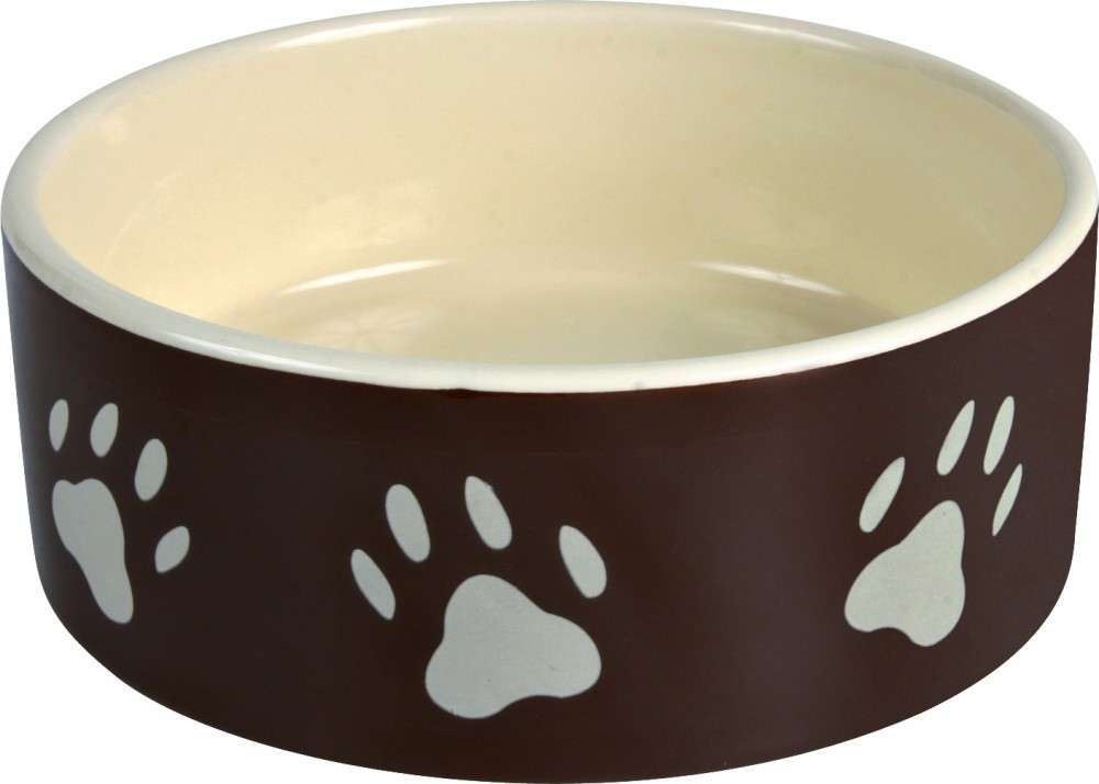 Ceramic bowl with Paw Prints, brown/cream Beige 1.4 l from Trixie