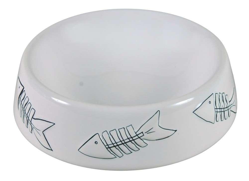 Trixie Comedero de cerámica con diseño de pescados Blanco 250 ml