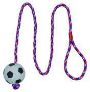 Soldes en Cours pour  Trixie Football sur une corde, mousse caoutchouc, flottante  - Corde de jeu pour chien