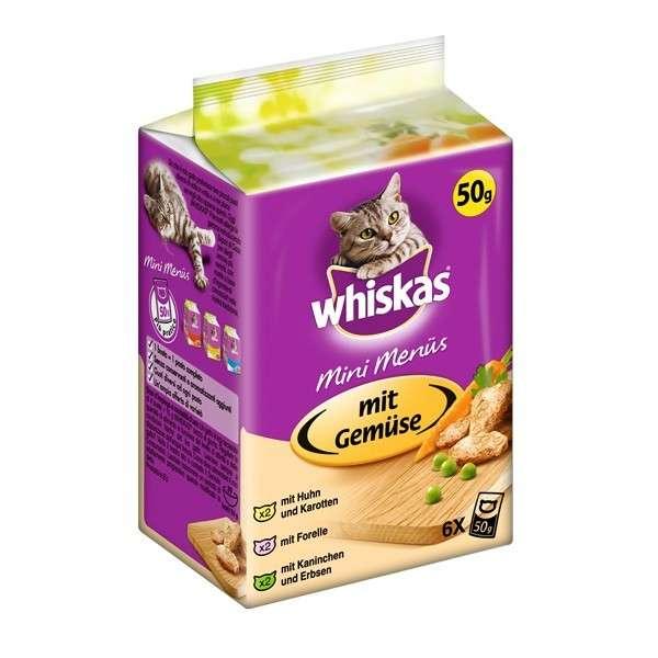 Whiskas Mini Menü in 6er Multipack met Kip & Wortelen, Forel, Konijn & Peas 12x6x50 g
