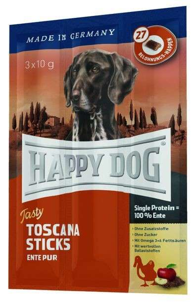 Happy Dog Tasty Toscana Sticks med And pur 3x10 g 4001967064001 anmeldelser