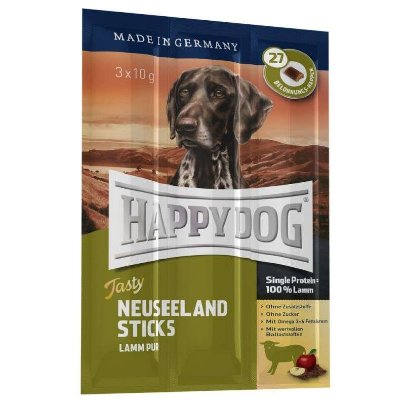 Happy Dog Tasty Neuseeland Sticks med Lam pur 3x10 g