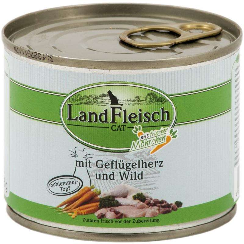 Landfleisch Cat Gourmet Pot Poultry hearts & Game with fresh vegetables in Can 195 g