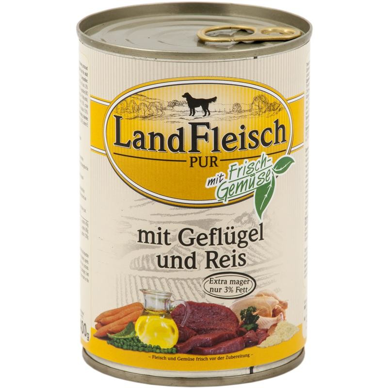 Landfleisch Pur Poultry & Rice extra low-fat with fresh vegetables Can 400 g 4003537403340 erfaringer