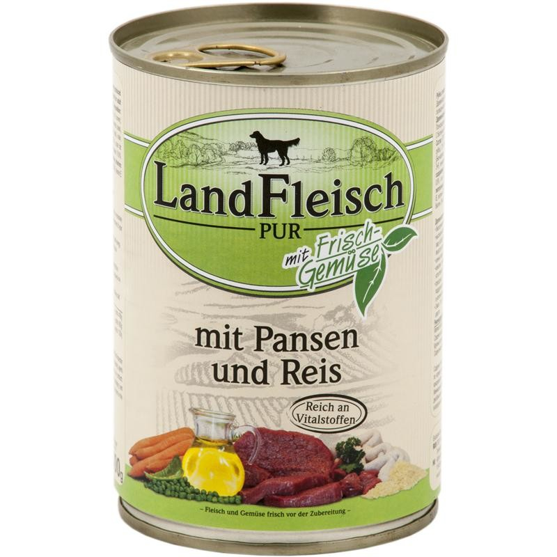 Landfleisch Pur Maag & Rijst met verse groenten Blikje 195 g, 400 g, 800 g