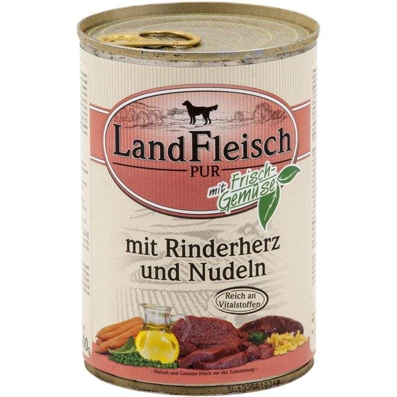 Landfleisch Pur Rundvlees Hart & Noedels met verse groenten Blikje 400 g