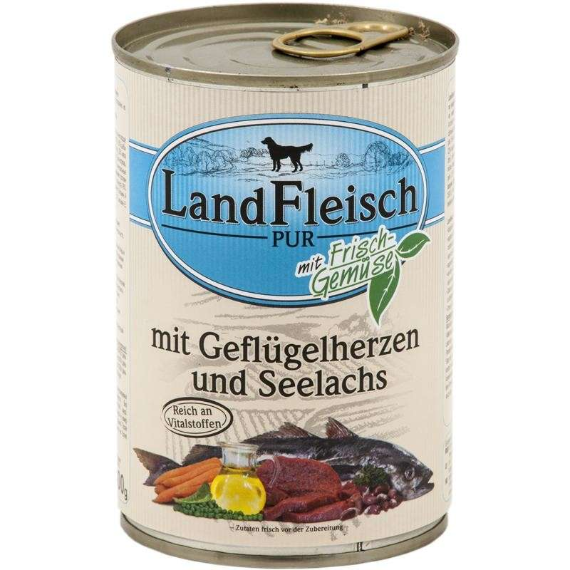 Landfleisch Pur Poultry hearts & Pollock with fresh vegetables Can 400 g