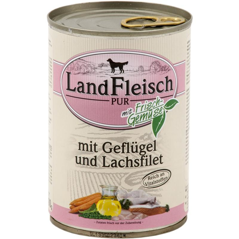 Landfleisch Pur Poultry & Salmon fillet with fresh Vegetables Can 400 g
