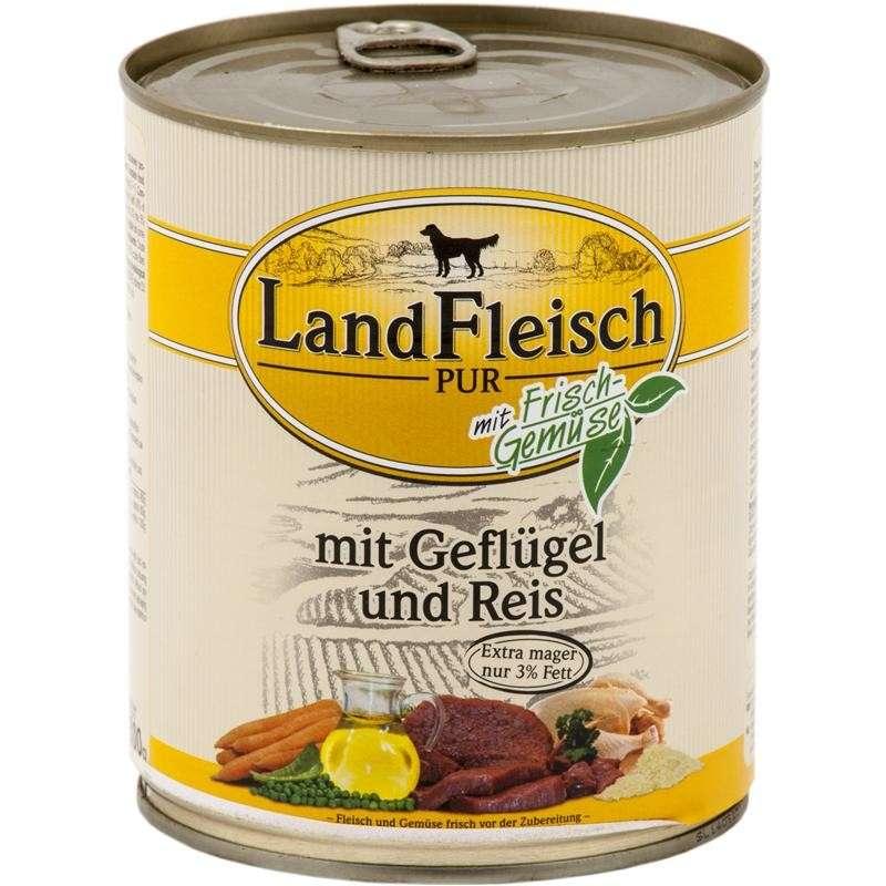 Landfleisch Pur Gevogelte & Rijst extra mager met verse groenten Blikje 800 g