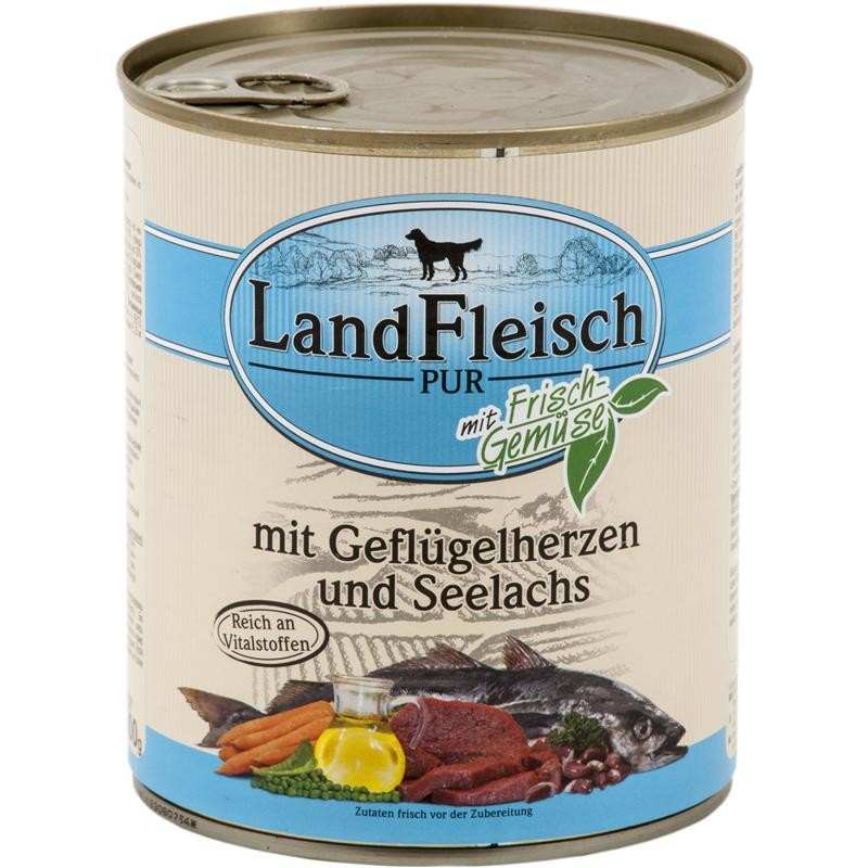 Landfleisch Pur Poultry hearts & Pollock with fresh vegetables Can 800 g
