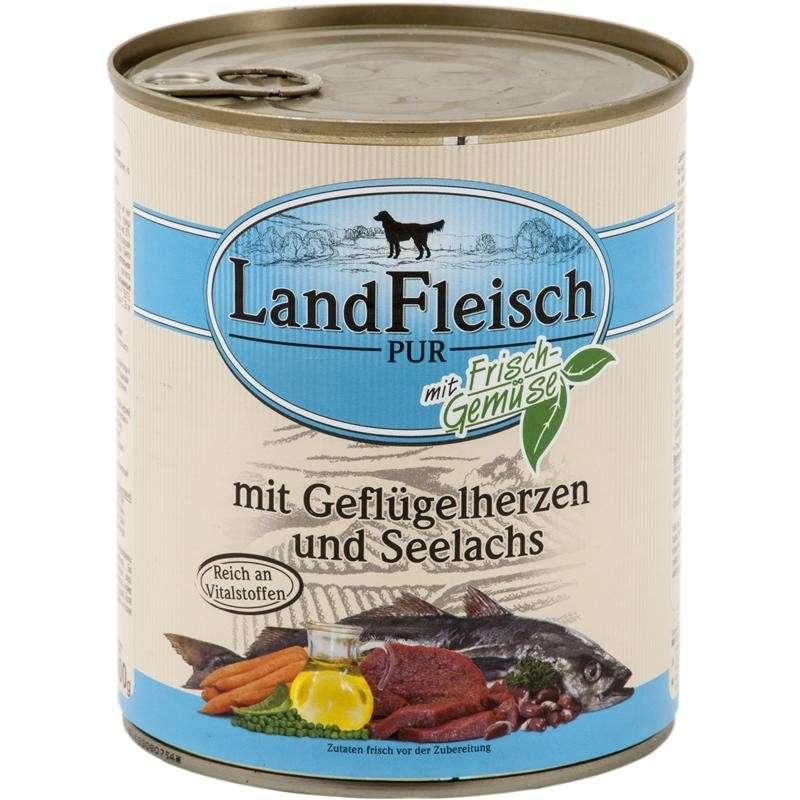 Landfleisch Pur Gevogelte Harten & Seelachs met verse groenten Blikje 800 g