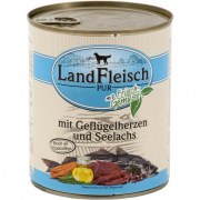 Landfleisch PURE Cœurs de volaille & Morue avec légumes frais Boîte 800 g - Nourriture aux légumes pour chiens