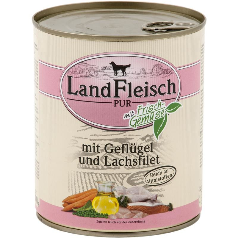 Landfleisch Pur Poultry & Salmon fillet with fresh Vegetables Can 800 g