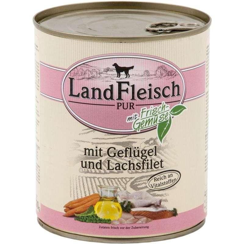Landfleisch Pur Gevogelte & Zalmfilet met Groenten Blikje 800 g
