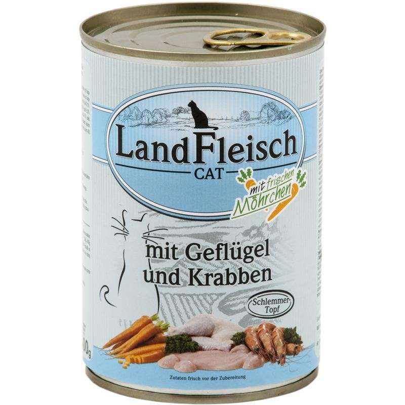 Landfleisch Cat Gourmet Pot Poultry & Crab meat with fresh vegetables in Can 400 g
