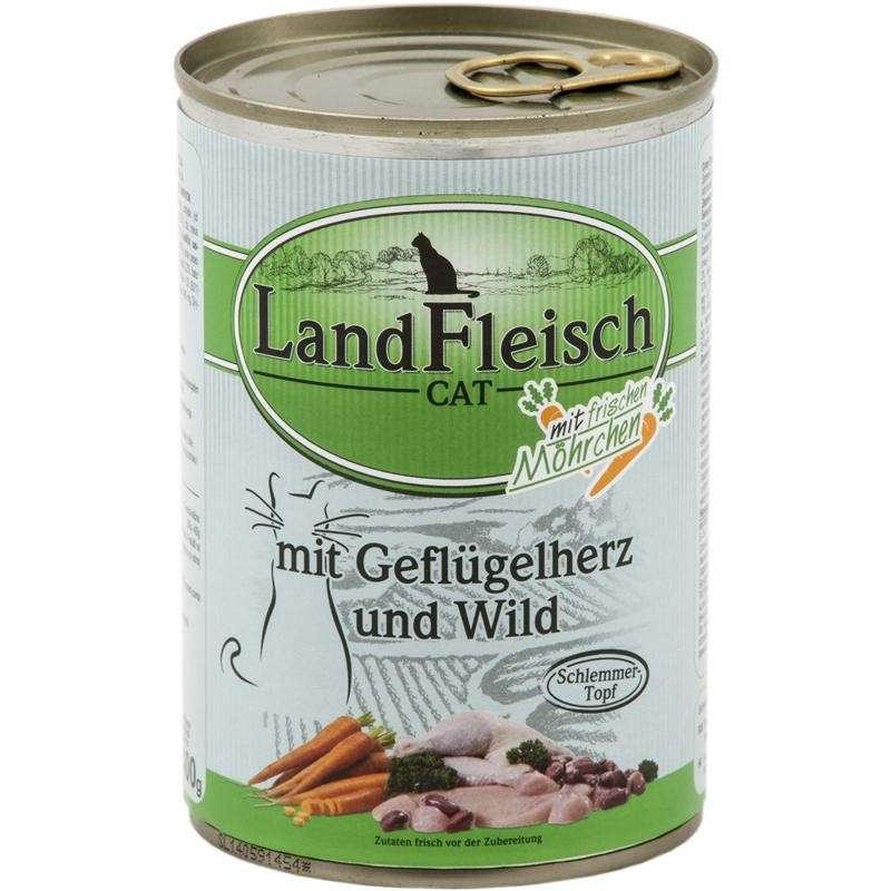 Landfleisch Cat Gourmet Pot Poultry hearts & Game with fresh vegetables in Can 400 g order cheap