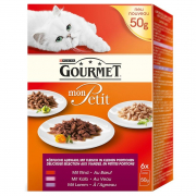 Purina Gourmet Mon Petit, Kød (med oksekød, kalv, lam) 6x50 g