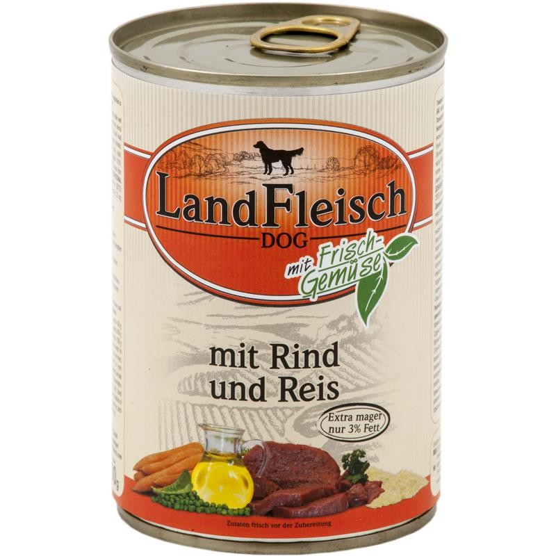 Landfleisch Dog Pur Beef & Rice extra lean with fresh Vegetables in Can 400 g