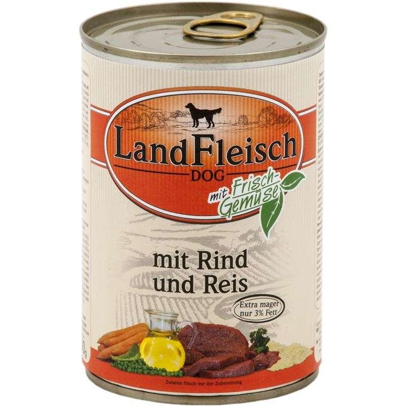 Landfleisch Dog Pur Rund & Rijst extra mager met verse groenten Blikje 400 g